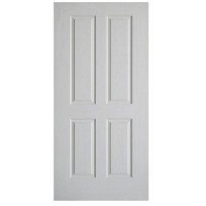 ประตูไม้HDF ลูกฟัก 4ตรง 70x200 ผิวลายไม้ สีรองพื้น