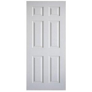 ประตูไม้HDF ลูกฟัก 6ตรง 90x200 ผิวลายไม้ สีรองพื้นขาว