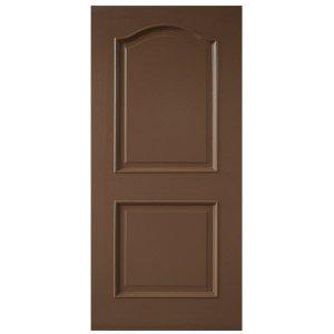 ประตูไม้MDF ลูกฟัก2 โค้ง ทำสีแลคเกอร์ Walnut leowood