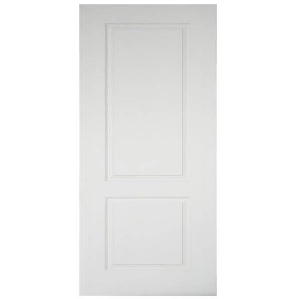 ประตูไม้MDF ลูกฟัก2 ตรง สีรองพื้นขาว leowood