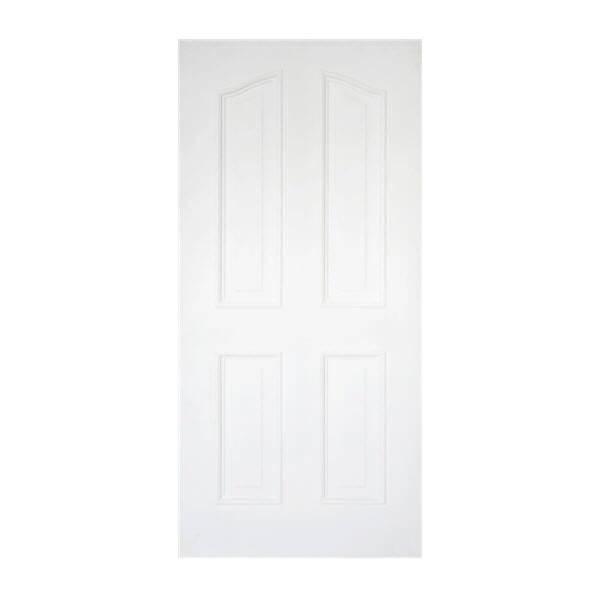 ประตูไม้MDF ลูกฟัก 4 โค้ง80x200 สีรองพื้นขาว leowood