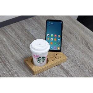 แท่นไม้โอ๊ควางสมาร์ทโฟนคู่ช่องกลม Size M ลายKEEP SMILING leowood