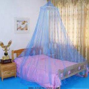 มุ้งกลมใช้กับเตียงเดี่ยวจนถึงเตียง 5 ฟุต สีฟ้า