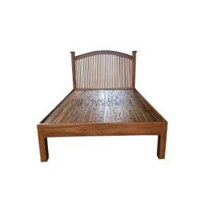 เตียงไม้สัก รุ่นซี่เหลาท้ายตัด 3.5 ฟุต