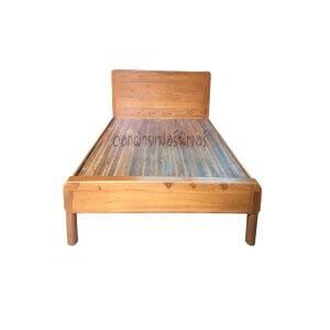 เตียงไม้สัก รุ่นมินิมอล์มุมมนเรียบ 3.5 ฟุต