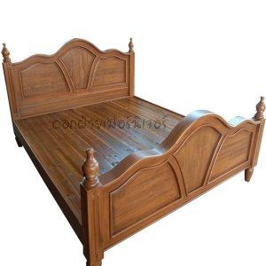 เตียงไม้สัก รุ่นใบบัว