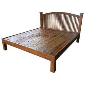 เตียงไม้สัก รุ่นซี่เหลาท้ายตัด 5 ฟุต