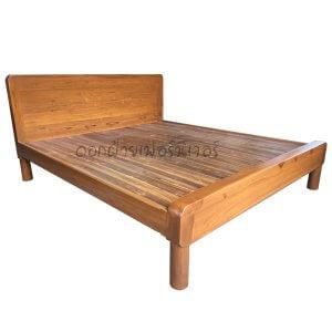 เตียงไม้สัก รุ่นมินิมอล์มุมมนเรียบ 6 ฟุต
