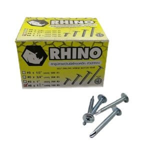 RHINO สกรูปลายสว่านยึดโครงเหล็กหัวบัททอน 8x1.5 นิ้ว