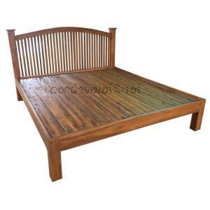 เตียงไม้สัก รุ่นซี่เหลาท้ายตัด 6 ฟุต