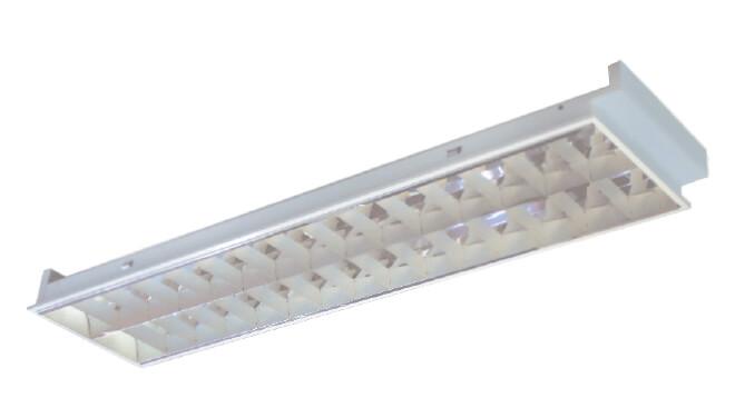 โคมตะแกรงฝังฝ้าอลูมิเนียมสะท้อนแสง T8 1x36W (15x120)