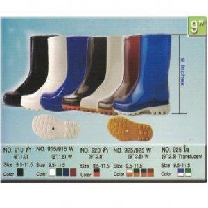 รองเท้าบู้ทยาง PVC ความสูง สีดำ