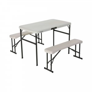 โต๊ะสนามพร้อมม้านั่ง 2 ตัวพับเก็บได้