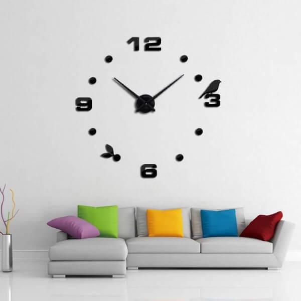 นาฬิกาติดผนัง ไม่ต้องเจาะ สีดำ
