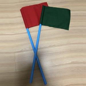 ธงโบกคู่เขียว-แดง 25x35cm.+ไม้จับ