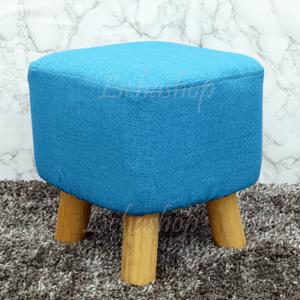 เก้าอี้สตูเบาะนิ่มขาไม้ สีฟ้า