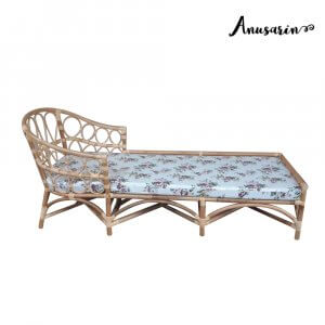 Anusarin Aurora 03 Rattan DAYBED with Floral Print Cushion