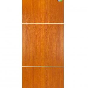 ประตู UPVC 80x200ซม. เซาะร่องภายใน รุ่น MP14 ลายไม้โกลเด้นทีค (ร่องขาว)