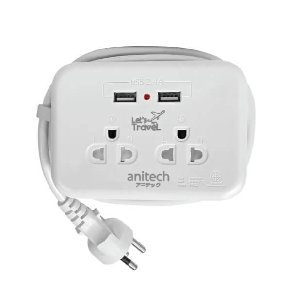 ANH9022 ปลั๊กไฟมาตรฐาน มอก. 2 ช่องเสียบ 2 USB
