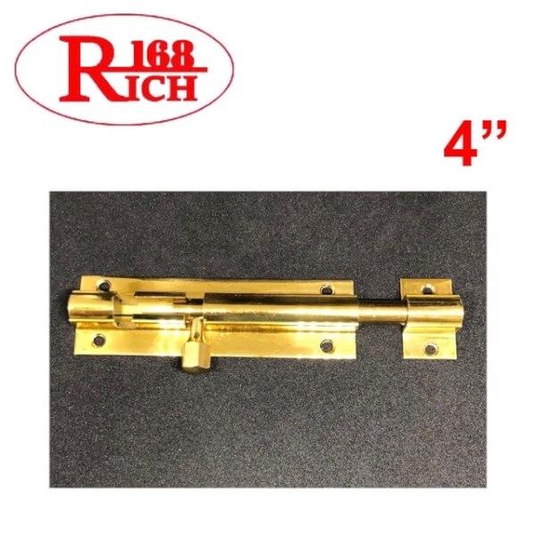 กลอนท้องปลิง ทองเหลือง ปลอกใหญ่ BR 105 ขนาด 4 นิ้ว สี PB