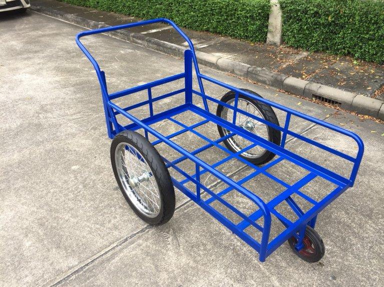 (ล้อมือสอง17นิ้ว)รถเข็นสามล้อโครงเหล็กสีน้ำเงิน ขนาด70x130cm