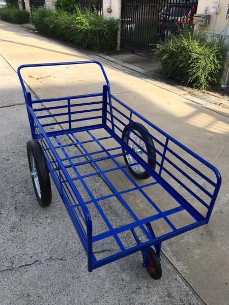 (ล้อมือสอง 17นิ้ว) รถเข็นสามล้อโครงเหล็กสีน้ำเงิน ขนาด 80x160cm