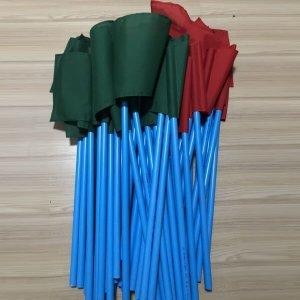 ธงโบกคู่เขียวแดงขนาด 40x60ซม. พร้อมด้ามจับ80ซม.