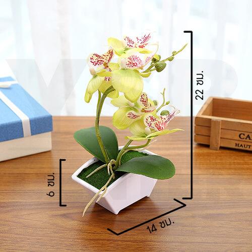 ต้นไม้ปลอม ต้นไม้แต่งบ้าน ดอกไม้พลาสติก ต้นไม้พลาสติก ดอกไม้ประดิษฐ์ (ต้นกล้วยไม้) ขนาด 14x6x22 CM.