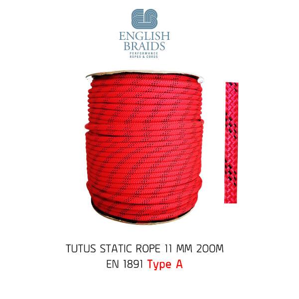 เชือกโรยตัว สีแดง-ดำ 11 mm x 200m ENGLISH BRAID