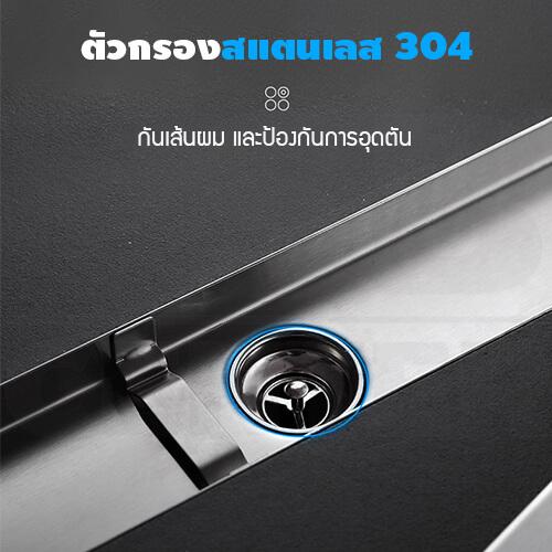 รางระบายน้ำ ท่อตรงกลาง ตะแกรงระบายน้ำสแตนเลส304 กันกลิ่น กันแมลง รางระบายน้ำ 2in1 ปูกระเบื้องบนฝาท่อได้