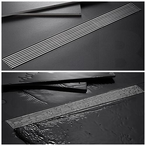 รางระบายน้ำ ท่อตรงกลาง ตะแกรงระบายน้ำ สแตนเลส304 ฝาครอบเส้นตรงเหล็กหนาแข็งแรง