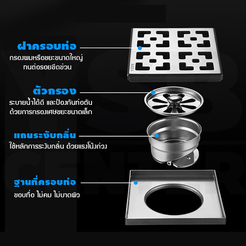 CASSA ตะแกรงท่อระบายน้ำ สแตนเลส 304 กันกลิ่น กันแมลง สำหรับห้องน้ำ ทรงสี่เหลี่ยมฝากรองแบบ2ชั้น รุ่น C1L115 - C1L118