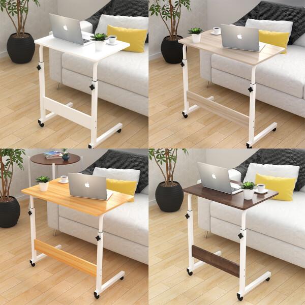 โต๊ะคอมพิวเตอร์ อเนกประสงค์ ปรับระดับ ล้อเลื่อน ขนาด 60x40 cm. ฉากไม้