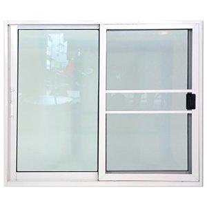 หน้าต่างอลูมิเนียมบานเลื่อนสีขาว 2 ช่อง KPA211