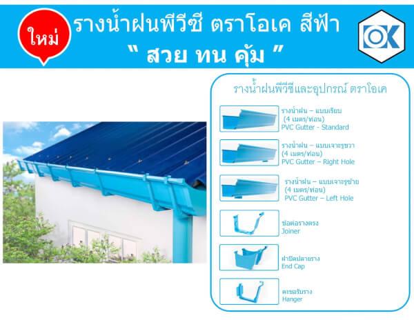 รางน้ำฝนพีวีซี สีฟ้า SCG