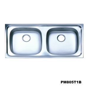 อ่างซิงค์2หลุม สะดือB(เจาะ1รูก๊อก) PM805T1B