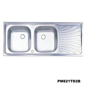 อ่างซิงค์2หลุมมีที่พักจาน สะดือB(เจาะ2รูก๊อก) PM821TD2B