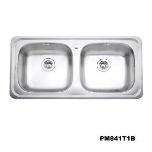 อ่างซิงค์2หลุม สะดือB(เจาะ1รูก๊อก) PM841T1B
