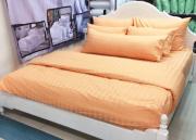 ผ้าปูที่นอนเกรดเอ สีส้ม ผ้า Cotton 100% ลายริ้ว