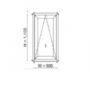 WINDSOR หน้าต่างบานกระทุ้ง ขนาด 600X1100 มม.