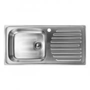 HAFELE 567.10.022 อ่างล้างจานแบบติดตั้งบนเคาน์เตอร์ 1 หลุม ที่พักด้านขวา รุ่น มาร์ส สีซาติน