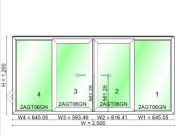 หน้าต่างบานเลื่อน 4 บานไวนิล WINDSOR รุ่น Right ขนาด 2500×1200
