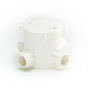 ข้อต่อกล่องพักสายกลมลึก 4 ทาง พีวีซี เอสซีจี ระบบร้อยสายไฟ สีขาว (มาตรฐาน BS)