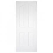 ประตูไม้MDF ลูกฟัก4 โค้ง สีรองพื้นขาว leowood