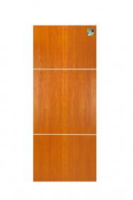 ประตู UPVC 80×200ซม. เซาะร่องภายใน รุ่น MP14 ลายไม้โกลเด้นทีค (ร่องขาว)