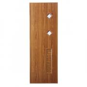 ประตู UPVC แบบบานเกล็ดช่องลมล่าง กระจกเล็กสองช่อง U11 ตรา JF