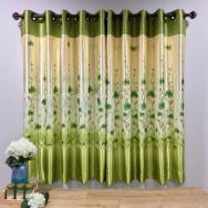 Sivanart ม่านตาไก่พิมพ์ลายดอกไม้สีเขียว กว้าง140cm. สูง150cm.