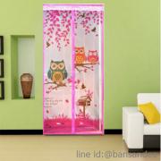 ม่านมุ้งลวดประตูกันยุงกว้าง100ยาว210สีชมพูลายนกฮู